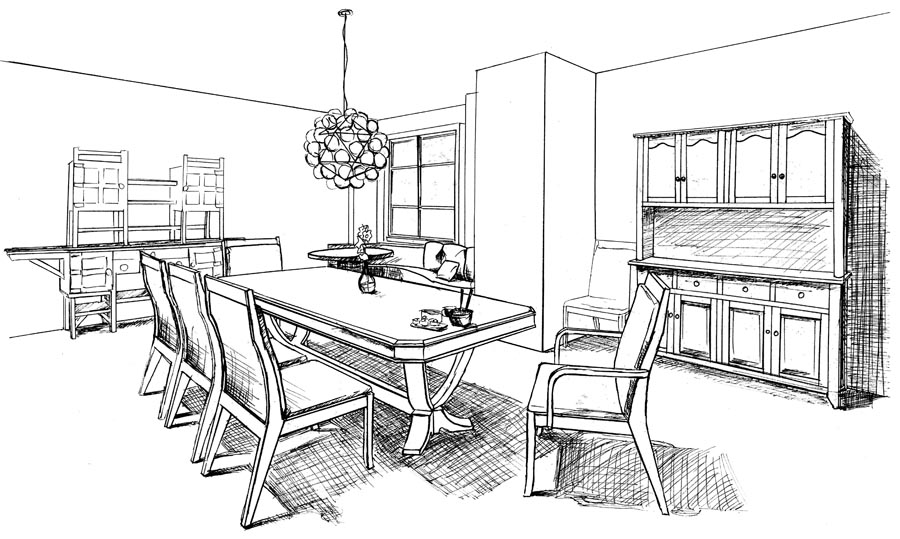 dining room drawing sketch coloring page